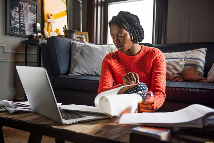 Person working from home on laptop