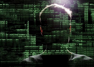 Cyber security graphics over man's head