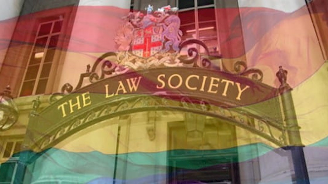 LGBT flag and Law Society sign