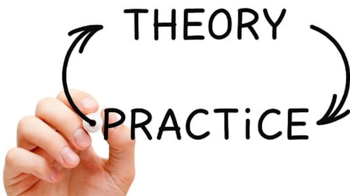 Theory and practice diagram with hand
