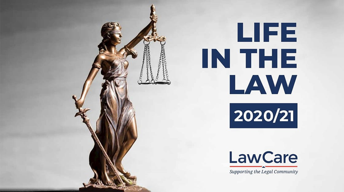 Statute of Lady Justice holding scales and sword. Life in the Law 2020/21, LawCare.