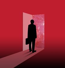 an illustrated image of a silhouetted person with a briefcase standing in a doorway.