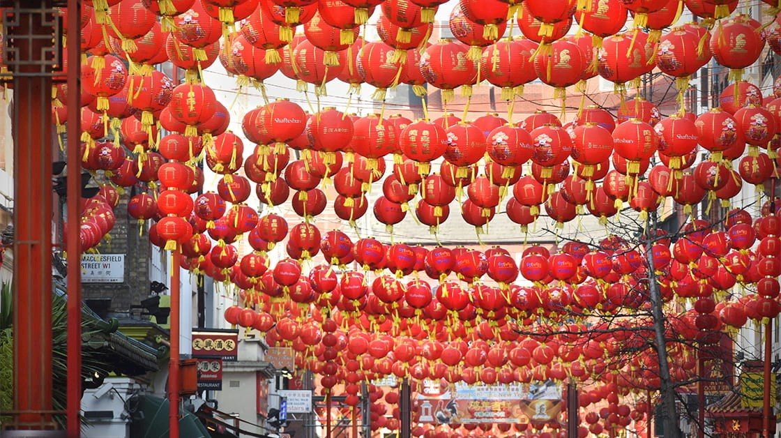 Red lanterns hanging in Soho for Chinese New Year