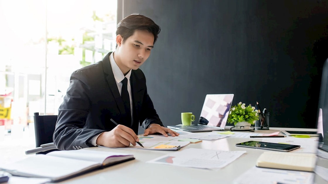 Solicitor working at desk